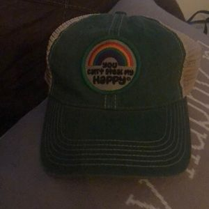 """Green trucker hat """"you can't steal my happy"""""""